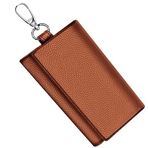 WEEGU キーケース メンズ カードキーケース 本革キーケース スマートキーケース 車 小銭入れ カードケース (ブラウン)