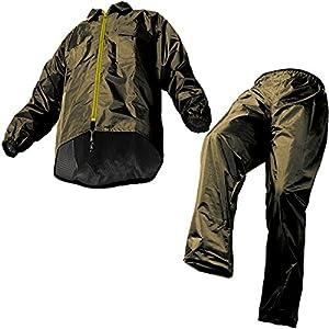 マック レインスーツ オリーブ L 裾上げ調整可能 防水 アジャストマック AS-5100