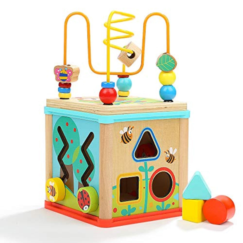 Dreampark ビーズコースター ルーピング おもちゃ アクティビティキューブ 子ども 知育玩具 木製 赤ちゃん マルチプレイセット