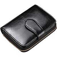 Lomory Accordion Zipper Wallet RFID Oil Wax Leather Credit Card Wallet Small Purse for Women (Black)