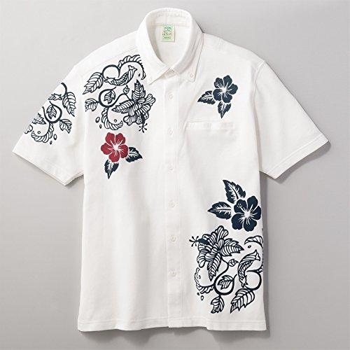 (ぽろゆし) ぽろゆし前開ポロシャツ メンズ ホワイト L
