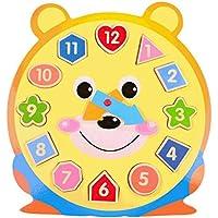 幼児期のゲーム 素敵な教育木製時計玩具アーリーラーニングタイムナンバーシェイプ子供のための色の動物の認知玩具(クマ)