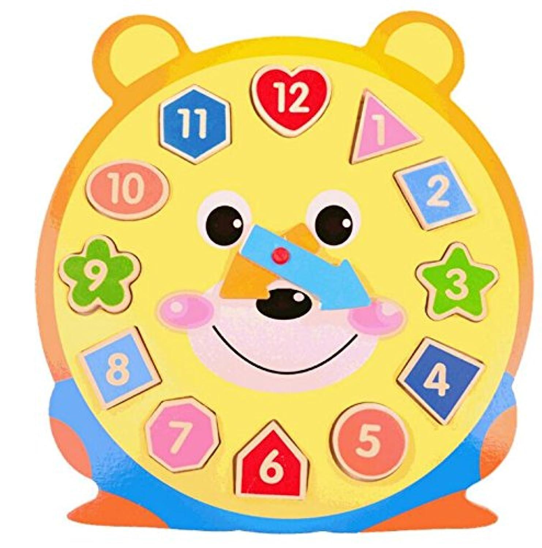 早期児童 おもちゃ 可愛い 教育 木製時計 おもちゃ 早期学習 数字の形 カラー 動物認知玩具 子供用 (ベア)