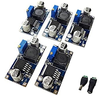 降圧型 DC-DC コンバーター 基盤 5個セット DCプラグ ・ ジャック変換コネクター 付き 2596
