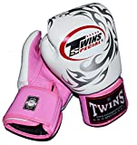 TWINS本革ボクシンググローブ12oz フェニックス 白ピンク×シルバー …