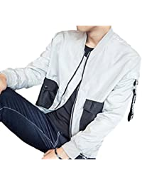 maweisong メンズ軽量ロングスリーブポケット一杯のジップアップジャケット