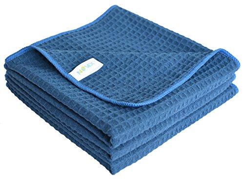 SINLAND 吸水 速乾 マイクロ ファイバー ワッフル タオル キッチン 食器 拭き クリーニング タオル 3枚 (40cmx60cm, 紺色)