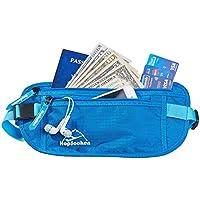 Hopsooken ウェストポーチ マネーベルト 貴重品入れ RFIDブロッキング ウエストポーチ 素材採用 パスポート、クレジットカード、現金、財布、鍵など収納可能 フリーサイズ