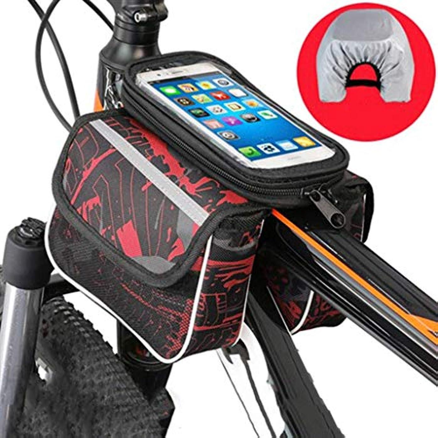 虹対象プロジェクタータッチスクリーンサンバイザー付き自転車電話のフロントフレームバッグ防水自転車トップチューブサイクリング電話マウントパック,赤