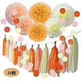 オレンジ パーティー 飾り付け 誕生日 結婚式 ピンク イエロー 可愛い ペーパーフラワー 紙ポンポン ガーランド タッセル 20枚セット