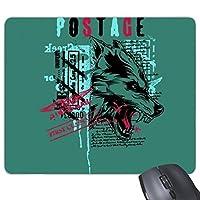 PINGFU 落書きストリート文化赤緑黒オオカミ血ファーストクラス郵便切手デザインアートイラストパターン長方形滑り止めラバーマウスパッドゲームマウスパッド