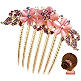 FINGER LOVE France Luxury Pearl Rhinestone Floral 6 Tooth Vantage Handmade French Twist Comb (APink)