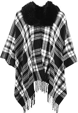 (ウェアオール) WearAll レディースプラス 婦人向け タータン チェック フォークス 毛皮 襟 飾り房 ケープ コート ジャケット レディース ポンチョ (黒 - ワンサイズ)