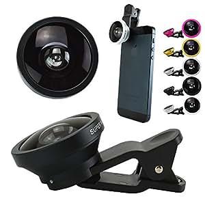 セルカレンズ 自撮りレンズ attach FUN-TA-STICK セルフィーレンズ Clip lens iPhone スマートフォン Xperia アンドロイド 0.4倍超広角レンズ (ブラック)