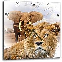 3dRose dpp_167046_1 ジャングルワイルドアニマル-ウォールクロック、10×10インチ