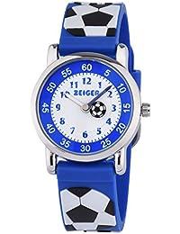 子供用腕時計 Zeiger アナログ表示 シリコーンバンド 日本製クオーツ キッズ腕時計 ボーイズ 男の子 サッカー ステンレス 入学 卒業 新年 誕生日 子供の日 お祝い KW091