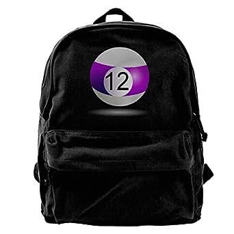 FotoFactoryリュック バックパック 大容量 球 紫 12 プール ビリヤード ゲーム ストライプ スポーツ デザイン 男女兼用 キャンバス リュックサック カジュアル通勤 高校生 多機能 かばん