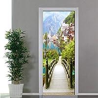 Lcymt ヨーロッパの木製の橋古代の町の風景ドアのステッカー3Dの壁紙リビングルームの寝室の防水ドアのステッカー3D壁画-280X200Cm