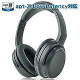 TSdrena Bluetooth ヘッドホン apt-x Low Latency 対応 テレビ鑑賞 ワイヤレス 密閉型 リモコン・マイク付 折りたたみ式 ブラック AUD-BHDPL