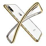 【Humixx】 iPhoneXケース iPhone X バンパー [ メタリック 水洗い可 ] [ ワイヤレス充電 対応 ] [ 超薄型 超軽量 ] [ 気泡防止 擦り傷防止 ] [ おしゃれ 高級感 ] アイフォンX用耐衝撃カバー ( iPhoneX , iPhone10 , ゴールド)