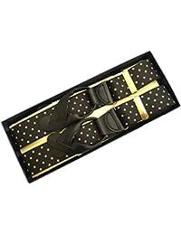 (ブレイス)Brace USA製 6ボタン止め サスペンダー メンズ 紳士 6ボタン止めがトドメElastic/WD Black/Tan Dot B141