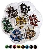 こもれび屋 ハンドメイド材料 ぬいぐるみ カラー目玉 手作り人形 動物さし目 7色70個セット HMP009(8mm)