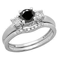 18Kホワイトゴールド5mmラウンドジェムストーン&ホワイトダイヤモンドブライダル3ストーン婚約指輪結婚セット