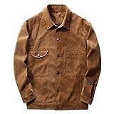 SemiAugust(セミオーガスト)メンズ 春秋ジャケット シンプルタイプ ポケット付き フェイクスエードブルゾン 防風 保温 男性用 カラーはカーキ サイズはL