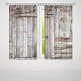 YOLIYANA 窓用カーテン 素朴 リビングルーム 寝室用 天然素材 木製窓 赤レンガ 田舎風 イディリック 37W X 51L Inches Z-02_03_115958