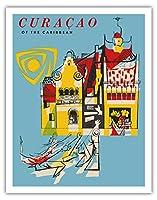 カリブ海のキュラソー - ビンテージな世界旅行のポスター c.1950s - アートポスター - 28cm x 36cm