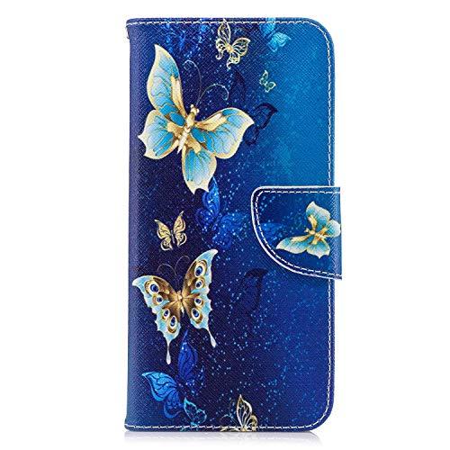 OMATENTI LG G7 ケース カード収納 おしゃれ 高級感 手帳型ケース 衝撃吸収 落下防止 防塵 人気 花柄カバー, マグネット開閉式 プロテクター LG G7 対応, 青い蝶2