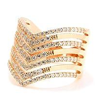 CZセブンスタックシェブロンリング ピンクゴールド キュービックジルコニア指輪ゆびわ大人可愛い ジュエリー