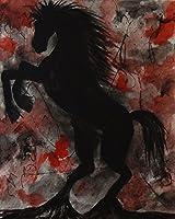 ブラックStallion by Ed Capeau 30x 24キャンバスギャラリーラップジークレーエディションアートプリントポスター壁装飾馬レッドブラック乗馬馬