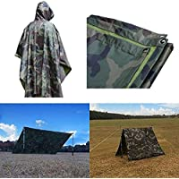Rain Poncho Multifunction Tactical Military Woodland Adult Rain Poncho Waterproof Army Hooded Ripstop Festival Military Camping Hiking Coat for Hunting, Hiking, Sports Activities