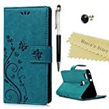 Huawei P9 liteケース Mavis's Diary 横置き 耐久性 保護ケース 吸着の機能 スタンド 手帳型 PUレザー素材 胡蝶 ブルー