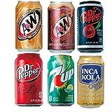 インカコーラ・ドクターペッパー・ ドクターペッパーチェリー・ A&Wルートビア・ A&Wクリームソーダ・ セブンアップ 輸入炭酸 ドリンク 6種 飲み比べセット