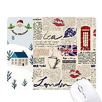 新聞の唇にキスマークコーヒー英国イングランドの旗マークイラストパターン サンタクロース家屋ゴムのマウスパッド