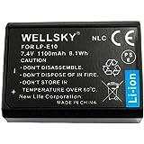 [WELLSKY] Canon キヤノン LP-E10 互換バッテリー [ 純正品と同じよう使用可能 純正充電器で充電可能 残量表示可能 ] イオス EOS Kiss X50/Kiss X70/Kiss X90