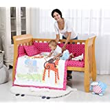 i-Baby 9 Piece Nursery Crib Bedding Set for Newborn Baby Bedding Set Infant Boys Girls Fitted Sheet Duvet Pillow Bumper Cot Set 100% Cotton Fabric (Lovely Jungle Animals)