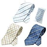 グリニッジ ポロ クラブ 洗えるネクタイ 3本セット 洗濯ネット1個付き 撥水加工 チェック (pe)