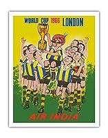 1966年ワールドカップロンドン、イングランド - エア?インディア - マハラジャ サッカー選手 - ビンテージな航空会社のポスター - アートポスター - 28cm x 36cm