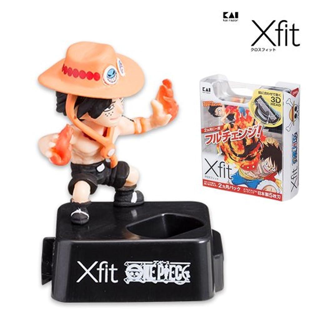 溶ける恋人宴会Xfit(クロスフィット)5枚刃 ワンピース企画第3弾 オリジナルホルダースタンド付 ホルダー+替刃4個パック (エース)