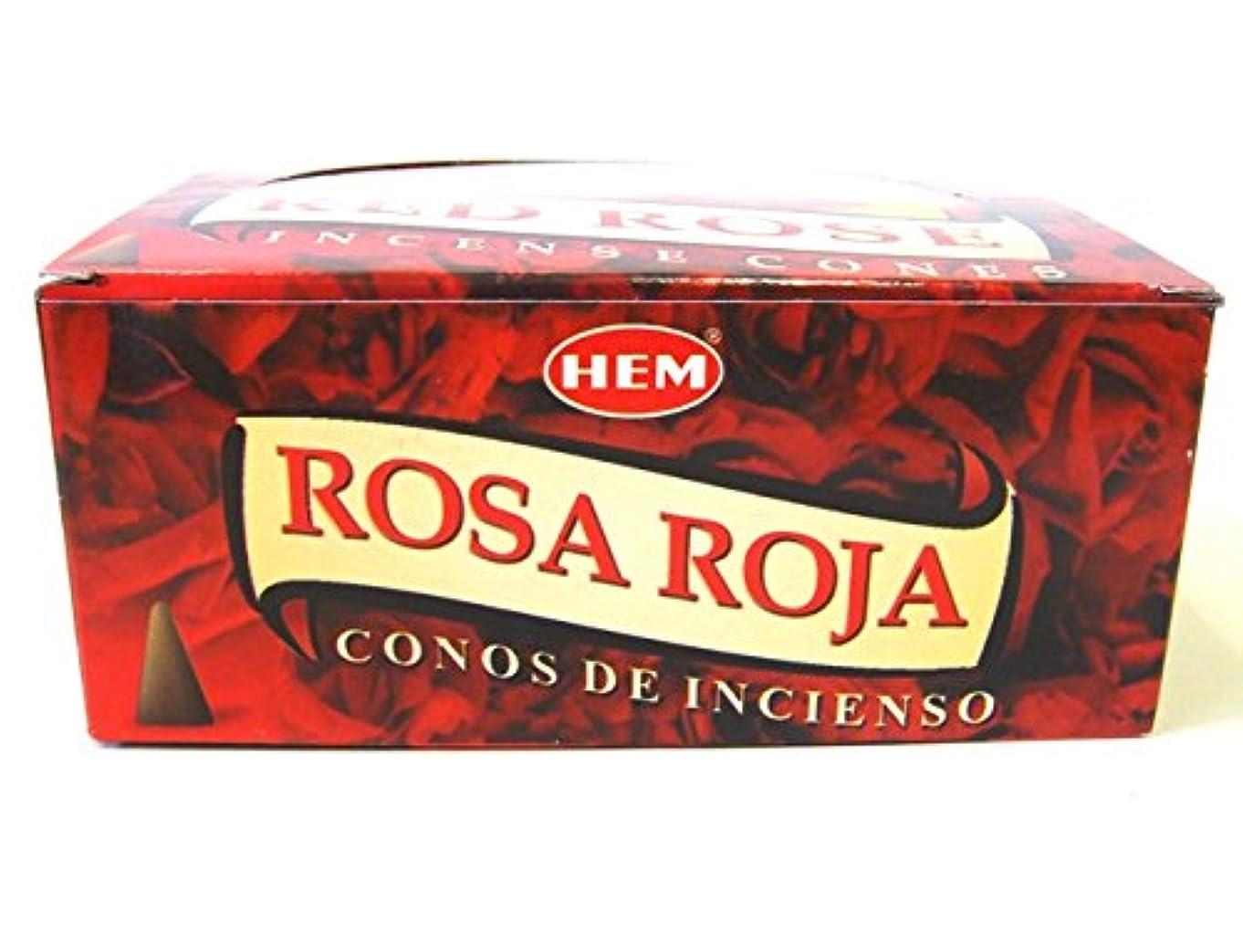 クラシック目覚める典型的なHEM お香 レッドローズ(RED ROSE) コーンタイプ 1ケース(12箱入り) お香薔薇