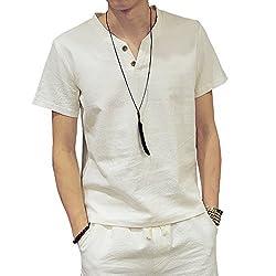 (オリマート)ORI-MART スウェット Vネック 半袖 Tシャツ 麻 無地 ストリート系 カジュアル シャツ メンズ