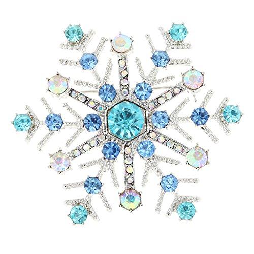 【ノーブランド 品】シャイニー ブリンブリン クリスタル ラインストーン クリスマス 雪の結晶 ブローチピン 女性ジュエリー