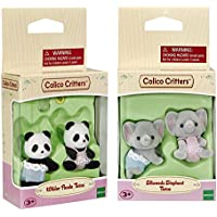 Calico Critters Wilder Panda Bear Twins and Ellwoods Elephant Twins
