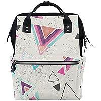 ママバッグ マザーズバッグ リュックサック ハンドバッグ 旅行用 三角形柄 白背景 ファション