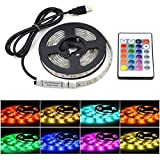 Lovicool LED Strip Light RGB Waterproof 5050 SMD LED Rope Lighting Color Changing Full Kit with 24-Keys Remote Controller for Kitchen, Bedroom, Bar, Party, TV Backlight