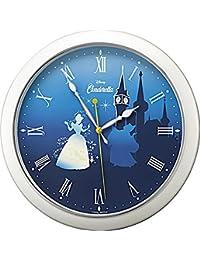 Disney ( ディズニー ) 掛け時計 アナログ キャラクター シンデレラ Cinderella M804 ファンタジー 蓄光 連続秒針 白 パール リズム時計 8MG804MC04