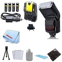 自動ズームバウンスフラッシュ, AA電池(充電式) AC/DCカー&ホーム充電器、デラックススターターキット& 6個メモリカードホルダーケースfor Canon 5d、5dマークII、5dマークIII、1d, 5d, 6d、7d、10d、20d、30d、40d、50d、60d、70d、t1i、t2i、t3、t3i、t4i、t5、t5i、sl1カメラ& More